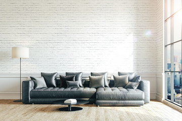 3d render of beautiful interior with sofa and floor lamp