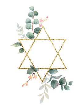 Watercolor vector hand painting composition from the flowers, green leaves and gold geometric frame.