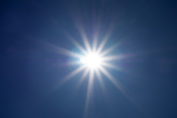 Shining sun at clear blue sky with copy space .