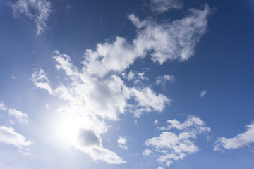 the fibrous clouds of white feathery ice crystals are also high level and blue sky .