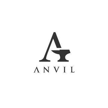Letter A With Anvil Logo Vector