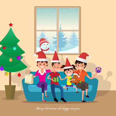 Merry Christmas and happy new year 2018 card with family.vector illustration.