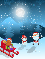 Christmas night , Santa with gift boxes and snowman in the snow - vector illustration background.