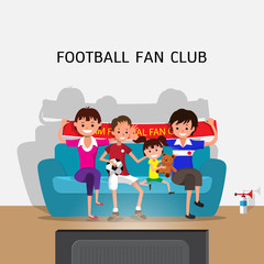 Family sitting on sofa at home and watching football game on TV, vector illustration