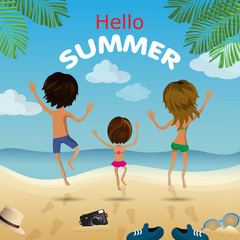 Vector family card. Summer banner with happy family. Mother, father and little babie.