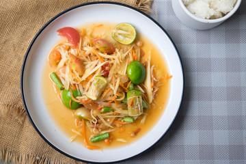 Papaya salad (som tum thai) on plate