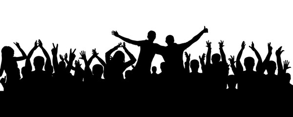 Crowd of people applauding silhouette. Cheerful audience, vector