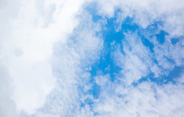 clear blue sky with white clouds on good weather.blue sky on sunlight background.skyscape.cloudscape.beautiful vast blue sky and fluffy clouds with some space.