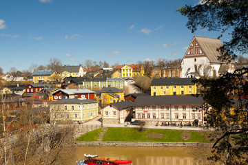 View of medieval church Porvoo cathedral and old town, Finland.