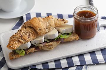 Goat cheese croissant sandwich