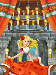 cartoon scene with prince in medieval castle room - illustration for children