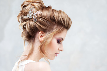 Door stickers Hair Salon Wedding style. Beautiful young bride with luxury wedding hairstyle
