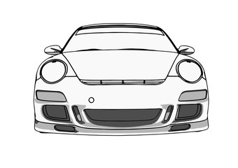 sketch of a sports car vector