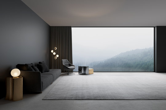 3d illustration. Modern living room with with mountain view