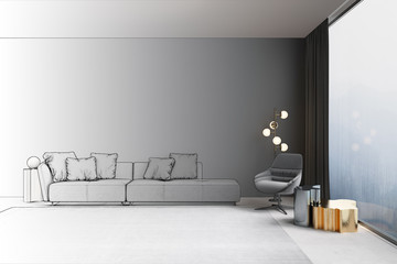 3d illustration. Interior of the living room with view of the misty mountains