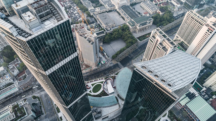 Aerial View of business area and cityscape in west Nanjing road, Jing`an district, Shanghai