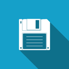 Floppy disk for computer data storage icon isolated with long shadow. Diskette sign. Flat design. Vector Illustration