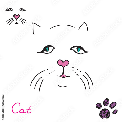 Cat set, paw print and face, hand drawn doodle, sketch