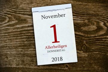 Abreißkalender Kalender mit Allerheiligen 2018