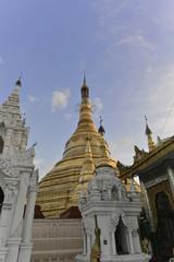 Abendstimmung, beleuchtete Shwedagon Pagode, Rangun, Myanmar, Asien