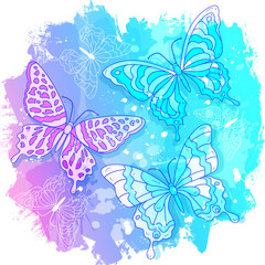 Vector watercolor drawing, abstract colored butterflies on pink and blue background