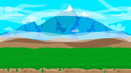 Poster Turquoise Cartoon seamless nature landscape background illustration, endless field for games and animations.