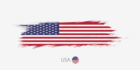 Flag of United States of America, grunge abstract brush stroke on gray background.