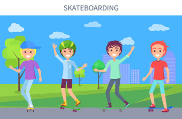 Skateboarding Poster and Boys Vector Illustration
