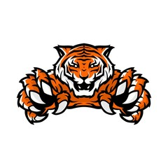 orange tiger sport gaming logo vector illustration template with white background