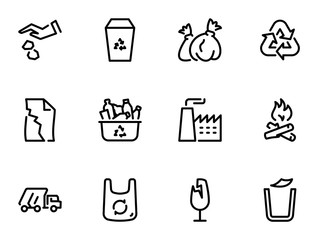 Set of black vector icons, isolated on white background, on theme Recycling and removal of garbage to landfill