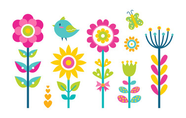 Flowers Collection Butterfly Vector Illustration