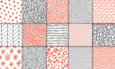 Abstract hand drawn geometric simple minimalistic seamless patterns set. Polka dot, stripes, waves, random symbols textures. Bright colorful vector illustration. Template for your design Wall mural