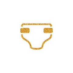 Diaper icon in gold glitter texture. Sparkle luxury style vector illustration.