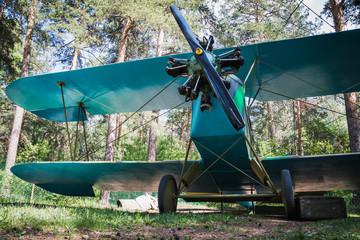 Old retro biplane on a forest aerodrome
