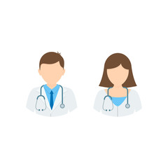 Doctor and Nurse Medicine flat colored iconset. Medical icon collection, vector illustration