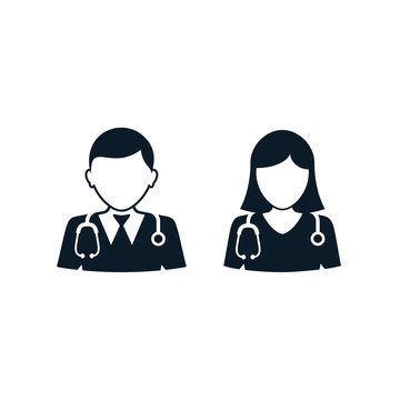 Doctor and nurse icon, Vector isolated medical set