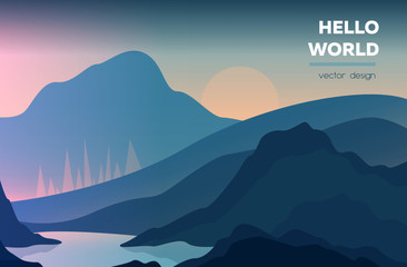 Modern polygonal landscape with mountains. vector illustration. Modern design template for web-banner