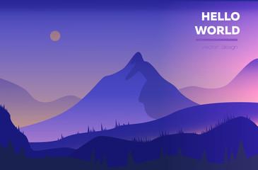 Modern polygonal landscape  with mountains. vector illustration. Modern design template for web-banner