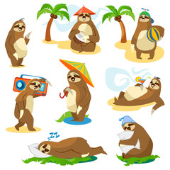 Set of cute cartoon sloth characters isolated on white background. Vector illustration.