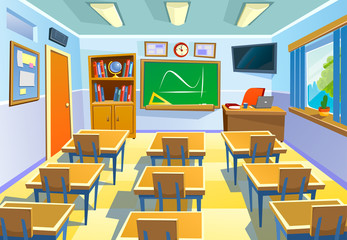 Empty classroom background in cartoon style. Class room colorful interior with chalkboard desks and school supplies. Vector Illustration for poster, flyer or background.