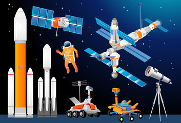 Vector cartoon space exploration set. Space rockets, astronomical telescopes, satellite dish, astronaut, rover, moon-rover, international Space Station. Scientific equipment in space exploration.