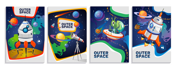 Set of colorful space cards. Vector cartoon posters.