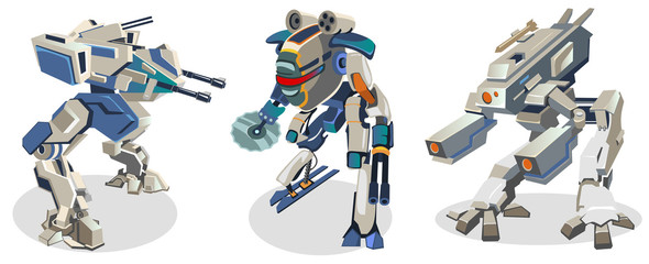 Set of futuristic cartoon space robots isolated on white background. Battle robots in space style. Vector illustration.