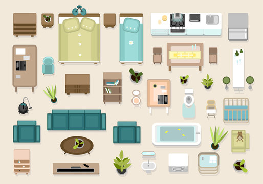 Interior top view elements set. Bedroom, nursery, living roon, kitchen, bathroom. Apatrment furniture set.