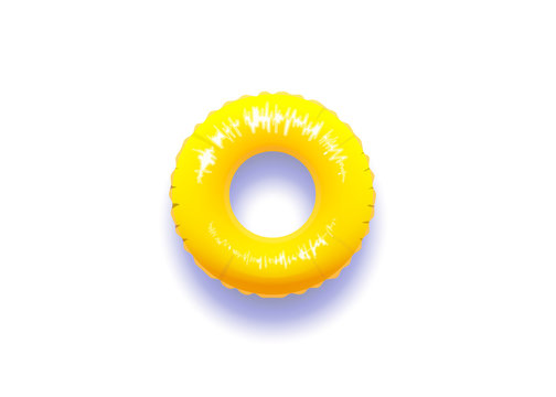 Yellow pool float with real shadow isolated in white background