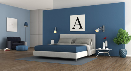 Blue modern master bedroom