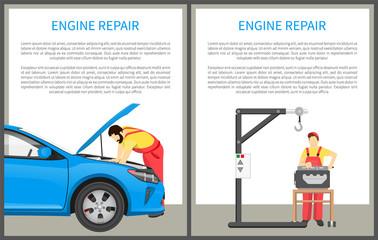 Engine Repair Posters Set Vector Illustration