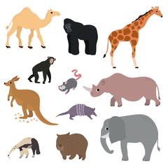 Wild animals set in flat style. Vector Illustration
