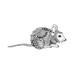 Mouse doodle hand drawn, illustration, black and white