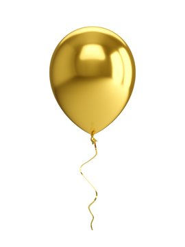 3D Rendering golden Balloon Isolated on white Background